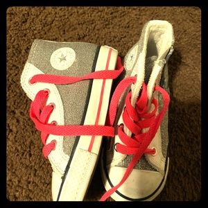 Sparkling Silver with Hot Pink toddler converse
